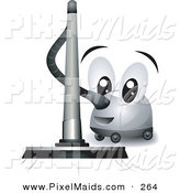 Clipart of a Friendly Vacuum Cleaner Character Vacuuming on White by BNP Design Studio