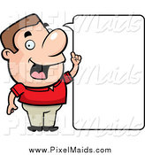 Clipart of a Friendly White Man Stating an Idea, with a Blank Word Box by Cory Thoman