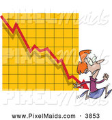 Clipart of a Frightened Woman Running from a Bar on a Declining Graph by Toonaday