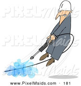 Clipart of a Frowning Man Being Blown off of His Feet by a Powerful Pressure Washer Hose by Djart