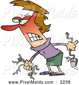 Clipart of a Frustrated Angry Woman Holding Computer Wires and a Mouse by Toonaday