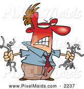 Clipart of a Frustrated Man Holding Torn Computer Wires by Toonaday