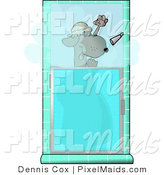 Clipart of a Funny Dog Showering Himself in a Tiled Bathroom by Djart