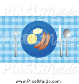 Clipart of a German Sausage on a Plate by Graphics RF