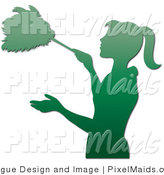 Clipart of a Gradient Green Silhouetted Houskeeper Dusting with a Feather Duster by Pams Clipart
