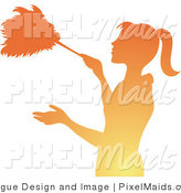 Clipart of a Gradient Orange Silhouetted Maid Dusting Something with a Feather Duster by Pams Clipart