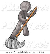 Clipart of a Gray Businessman Wearing a Tie, Using a Mop While Mopping a Hard Floor to Clean up a Mess or Spill by Leo Blanchette