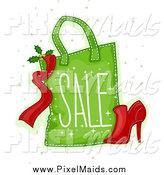Clipart of a Green Christmas Sale Shopping Bag with a Shoe by BNP Design Studio