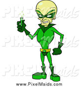 Clipart of a Green Evil Villain Holding a Test Tube by Cartoon Solutions