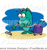 Clipart of a Green Female Fish Vacuuming the Ocean Floor by Dennis Holmes Designs