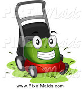 October 9th, 2014: Clipart of a Green Lawn Mower Mascot at Work by BNP Design Studio
