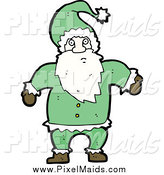 Clipart of a Green Santa Claus by Lineartestpilot