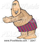 Clipart of a Grinning Overweight Hairy Man Going Swimming by Djart