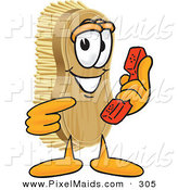 Clipart of a Grinning Scrub Brush Mascot Cartoon Character Holding and Pointing to a Red Phone by Toons4Biz