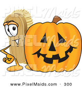 Clipart of a Grinning Scrub Brush Mascot Cartoon Character Standing by a Carved Halloween Pumpkin by Toons4Biz