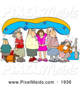 Clipart of a Group of Friends and Family Going River Rafting by Djart