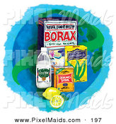 Clipart of a Group of Household Cleaners and Lemons over a Blue Globe by Inkgraphics