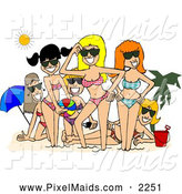 Clipart of a Group of Smiling Beach Girls Posing Together Under the Sun by Djart