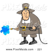 Clipart of a Grumpy Caucasian Male Pilgrim in Brown Clothes and a Hat, Operating a Pressure Washer by Djart