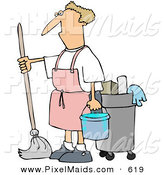 Clipart of a Grumpy Janitor Man Mopping in a Pink Apron by Djart