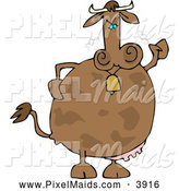 Clipart of a Grumpy Mad Cow Wearing a Bell by Djart
