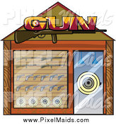 Clipart of a Gun Shop Building Facade by Graphics RF