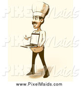 Clipart of a Halftone Male Chef Holding a Laptop in Vintage Sepia Tones by Julos