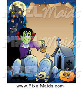 Clipart of a Halloween Parchment Frame with a Vampire by Visekart