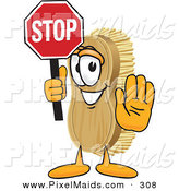 Clipart of a Happpy Scrub Brush Mascot Cartoon Character Holding a Stop Sign by Toons4Biz