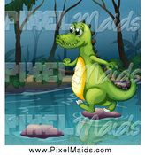 Clipart of a Happy Alligator Using Stepping Stones on a River by Graphics RF