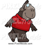 Clipart of a Happy Ape Wearing a Red Shirt and Walking Upright by Cory Thoman