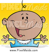 Clipart of a Happy Black Baby Wanting a Hug by Hit Toon