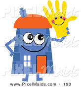 Clipart of a Happy Blue Cartoon House Character Holding a Smiley Glove by Prawny