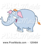 Clipart of a Happy Blue Elephant by Hit Toon