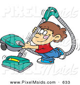 Clipart of a Happy Boy Using a Big Vacuum by Toonaday