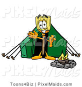 Clipart of a Happy Broom Mascot Cartoon Character Camping with a Tent and Fire by Toons4Biz