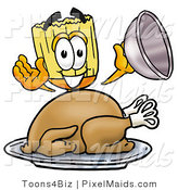 Clipart of a Happy Broom Mascot Cartoon Character Serving a Thanksgiving Turkey on a Platter by Toons4Biz