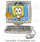 Clipart of a Happy Broom Mascot Cartoon Character Waving from Inside a Computer Screen by Toons4Biz