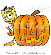 Clipart of a Happy Broom Mascot Cartoon Character with a Carved Halloween Pumpkin by Toons4Biz