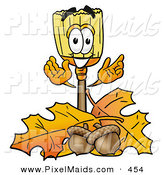 September 8th, 2012: Clipart of a Happy Broom Mascot Cartoon Character with Autumn Leaves and Acorns in the FallHappy Broom Mascot Cartoon Character with Autumn Leaves and Acorns in the Fall by Toons4Biz