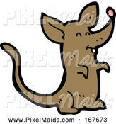 Clipart of a Happy Brown Mouse by Lineartestpilot