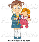 Clipart of a Happy Brunette Girl Holding a Stethoscope to Her Doll by BNP Design Studio