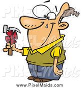 Clipart of a Happy Brunette White Man Shedding a Tear over a Hammer Gift on Fathers Day Cartoon by Toonaday