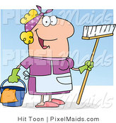 Clipart of a Happy Caucasian Maid by Hit Toon