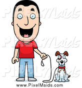 Clipart of a Happy Caucasian Man Ready to Walk His Dog by Cory Thoman