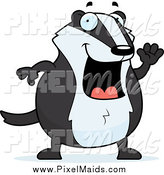 Clipart of a Happy Chubby Badger Waving by Cory Thoman