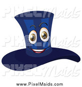Clipart of a Happy Dark Blue Top Hat Mascot by Graphics RF