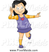 Clipart of a Happy Girl Covering Her Ear and Listening by BNP Design Studio