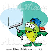Clipart of a Happy Green Fish Window Cleaner Using a Squeegee by Dennis Holmes Designs