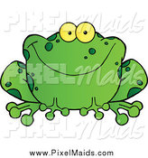 Clipart of a Happy Green Frog Smiling by Hit Toon